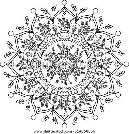 Adult Coloring Page Mandala Coloring Stock Vector 514068856 ...