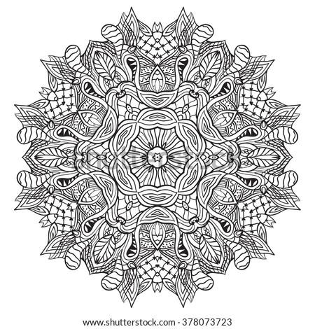 Adult Coloring Page Mandala Vector Art Stock Vector 378073723