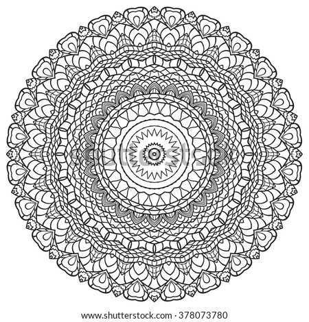 adult coloring page mandala vector for art coloring book zendoodle round zentangle