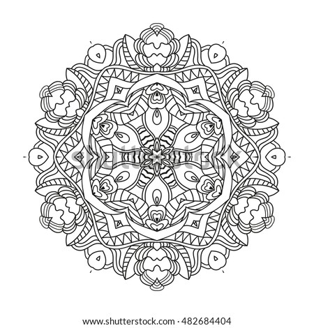 Adult coloring page. Mandala vector for art, coloring book, zendoodle. Round zentangle for coloring book pages, mandala design. Coloring mandala. round ornament lace pattern