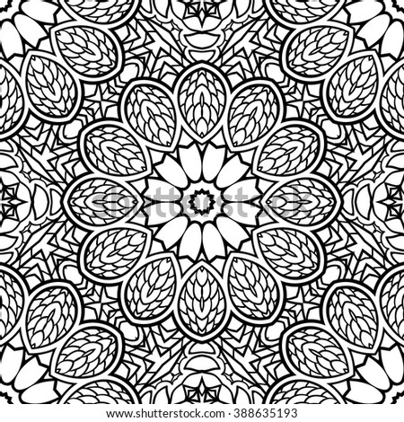 Adult Coloring Page Semless Zendoodle Vector For Art Book Square