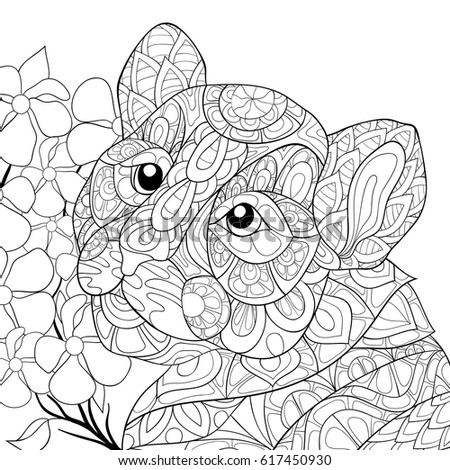 Adult Coloring Page TigerZen Art Style Illustration