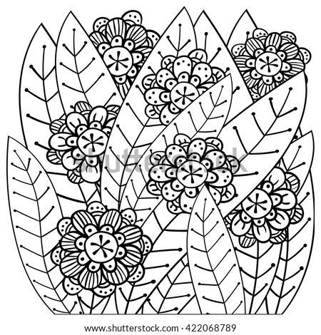 Adult Coloring Page Whimsical Garden Zentangle Inspired Line Art Vector Illustration For Colouring Book Soft