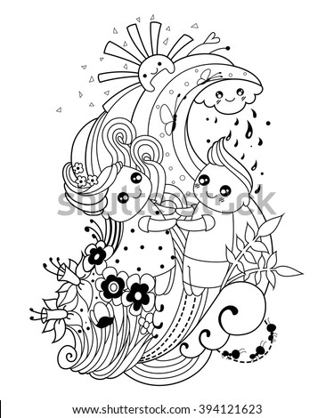 Adult Coloring Page Boy Girl Cloud Stock Photo (Photo, Vector ...