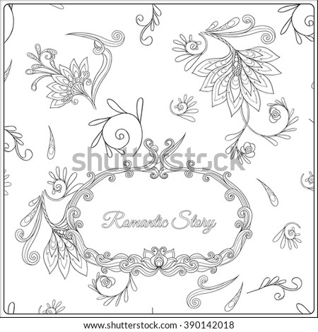 Adult coloring page with floral pattern and frame for text. Outline drawing. Vector illustration.