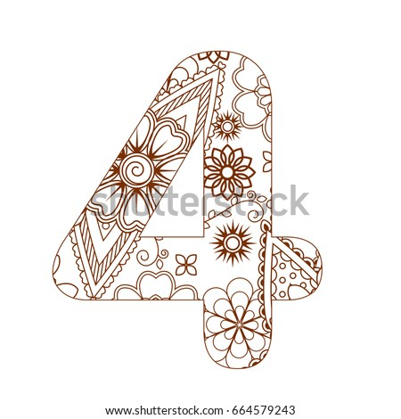 Adult Coloring Page With Number 4 Ornamental Font