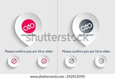 Adult content confirmation window vector illustration, eps10, easy to edit - stock vector
