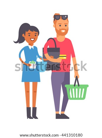 Adult couple doing shopping vector illustration. Buying happiness customer casual two shopping couple people. Happy beautiful young shopping couple indoors romance shopaholic family - stock vector