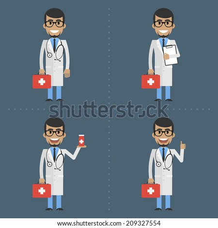 Adult doctor therapist holds suitcase - stock vector