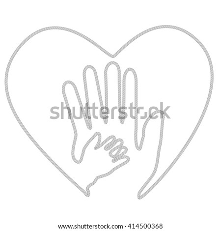 Adult Hand and Baby Hand at Love Shape from rope
