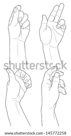 Adult man hand isolated on white - stock vector