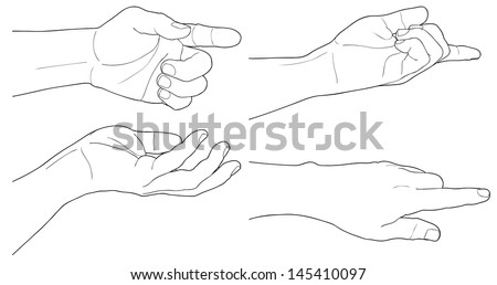 Adult man hand to hold something, isolated on white