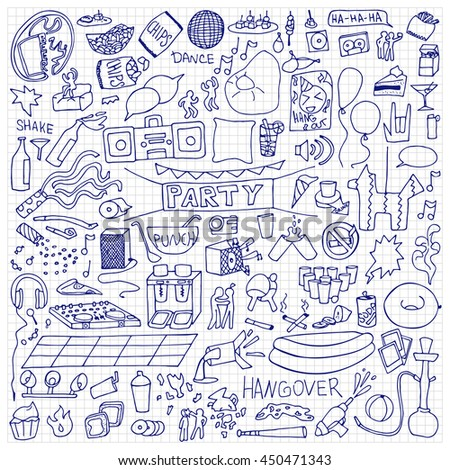 Adult Party hand drawn Set. Vector illustration of doodle holiday elements on squared paper