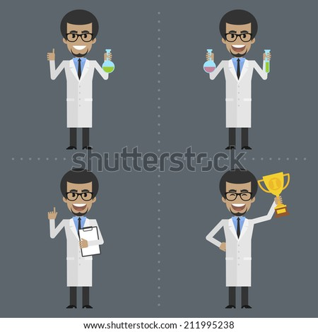 Adult scientist holds different objects - stock vector