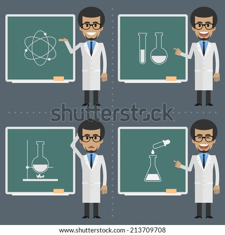 Adult scientist indicates to chalkboard - stock vector