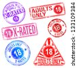 Adults only and X rated rubber stamp vectors - stock vector