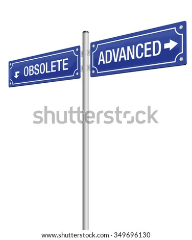 ADVANCED and OBSOLETE, written on two signposts. Isolated vector illustration on white background. - stock vector