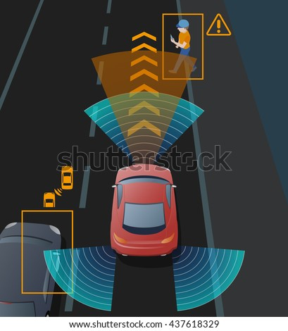 Advanced Driving Assistant System Adas Blind Stock Vector