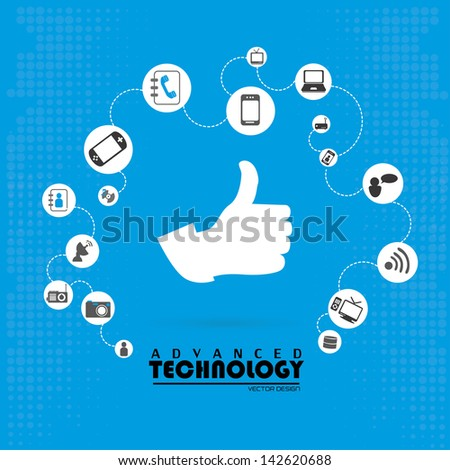 advanced technology over blue background vector illustration
