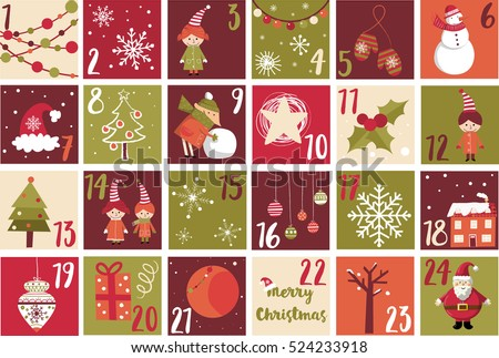 Advent Calendar Christmas Symbol Christmas Poster Stock Vector