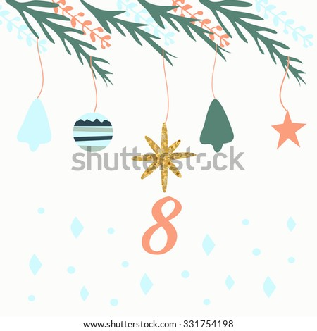 Advent calendar. Vector illustration. Countdown to Christmas 8