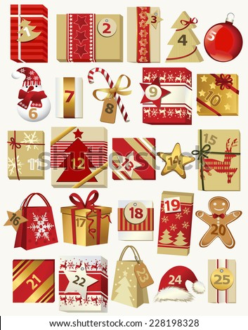 Advent calendar with gifts - stock vector