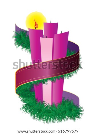 Advent Candles Wreath Purple Violet Ribbon Stock Vector 2018