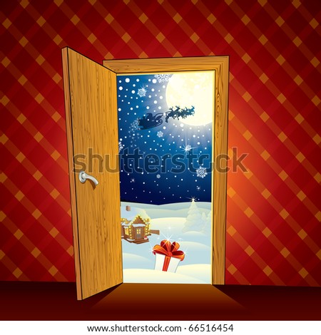 Advent Christmas magic scene - cartoon vector illustration - stock vector