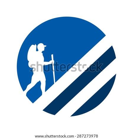 adventure logo. climbing logo. camping logo. - stock vector