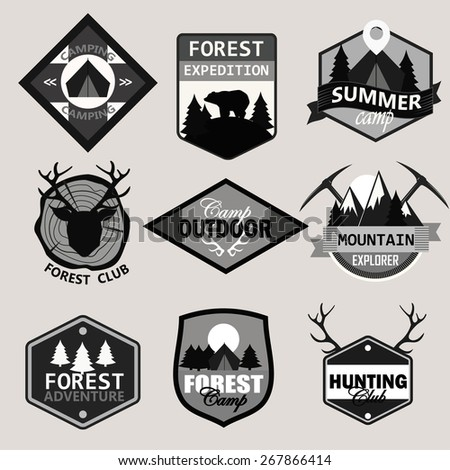 Adventure, outdoors, camping logo emblems set.Vintage badges and labels set. - stock vector