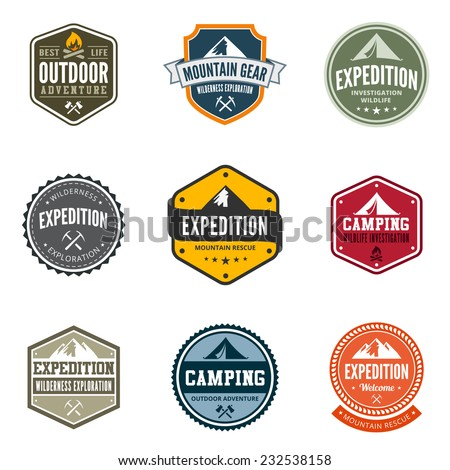 Adventure Tourism Travel Logo Vintage Labels design vector templates. Exploration Camping Badges Retro style logotype concept icons set. - stock vector