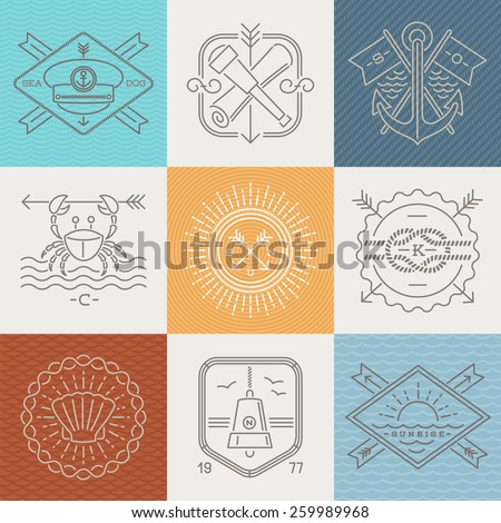 Adventures, nautical and travel emblems signs and labels - Line drawing vector illustration - stock vector