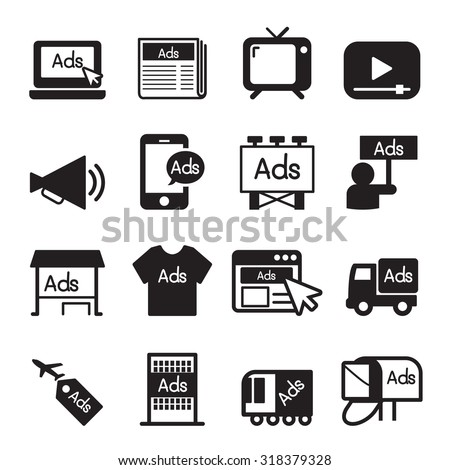 Advertise icon set - stock vector