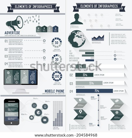 Advertise,Marketing and technology info graphics set design on white background,clean style,vector