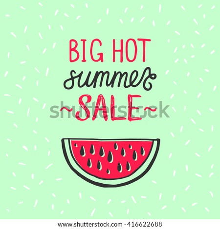Advertisement about the summer sale on green background with watermelon illustration. Typography Paper Folding Design. Vector illustration. - stock vector