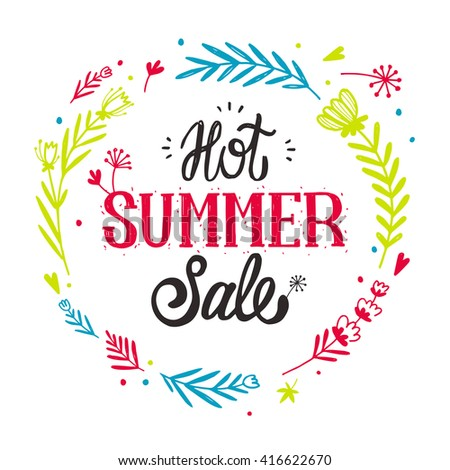 Advertisement about the summer sale on white background with flower frame. Typography Paper Folding Design. Hot summer sale banner. Hand drawn lettering. Summer Seasonal Promotion. Vector illustration - stock vector