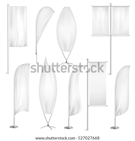Advertisement blank flags and banners various shapes templates collection white with background realistic isolated vector illustration