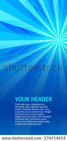Advertisement flayer design elements. Blue background with elegant graphic sun ice flower bright light rays from. Vector illustration EPS 10 for template brochure, layout leaflet, newsletters - stock vector