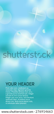 Advertisement flayer design elements. Blue green background with elegant graphic stars bright light rays from. Vector illustration EPS 10 for template brochure, layout leaflet, newsletters