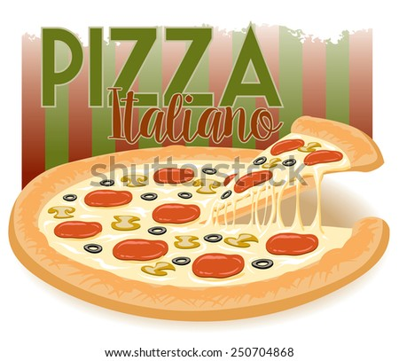 advertisement for a cheesy italian pizza with a slice being taken - stock vector