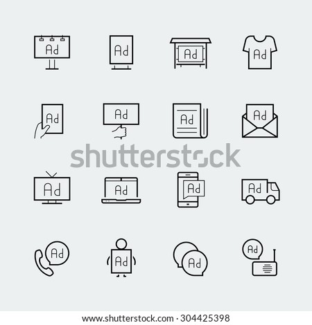 Advertisement icon set in thin line style - stock vector