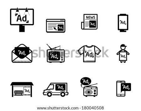 Advertisement icons set BW - stock vector
