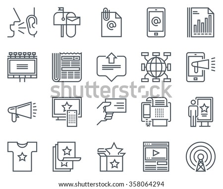 Advertisement, marketing icon set suitable for info graphics, websites and print media. Black and white flat line icons. - stock vector