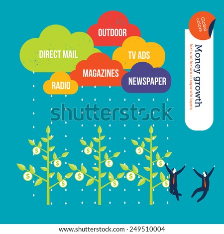 Advertisement media clouds raining over money plants businessmen happy. Vector illustration Eps10 file. Global colors. Text and Texture in separate layers. - stock vector