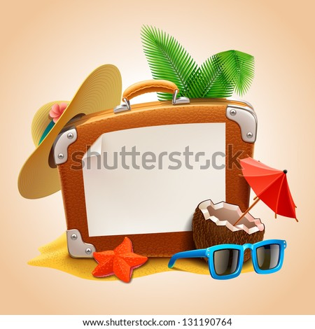 Advertisement on travel suitcase - stock vector