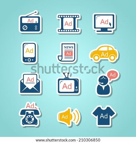 Advertisement paper cut icons - stock vector