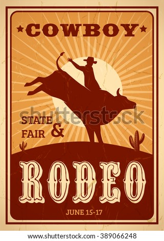 Advertisement rodeo poster in retro style with cowboy riding wild horse on sunset background flat vector illustration - stock vector