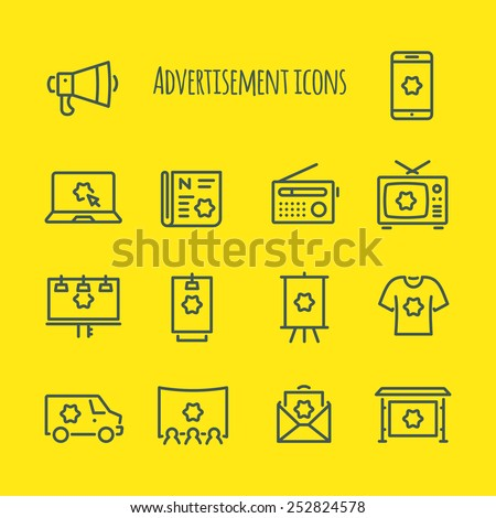 Advertisement  Vector Line Icons Set - stock vector
