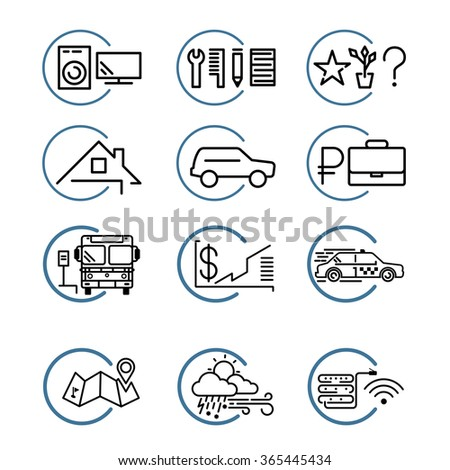 advertisement vector linear icons set