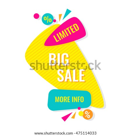 Advertising banner. Big limited sale. More info. Colorful vector illustration